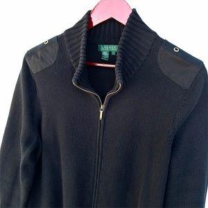 Lauren Ralph Lauren Full Zip Sweater Black 1X